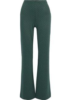 Diane Von Furstenberg Woman Caspian Jacquard-knit Flared Pants Forest Green