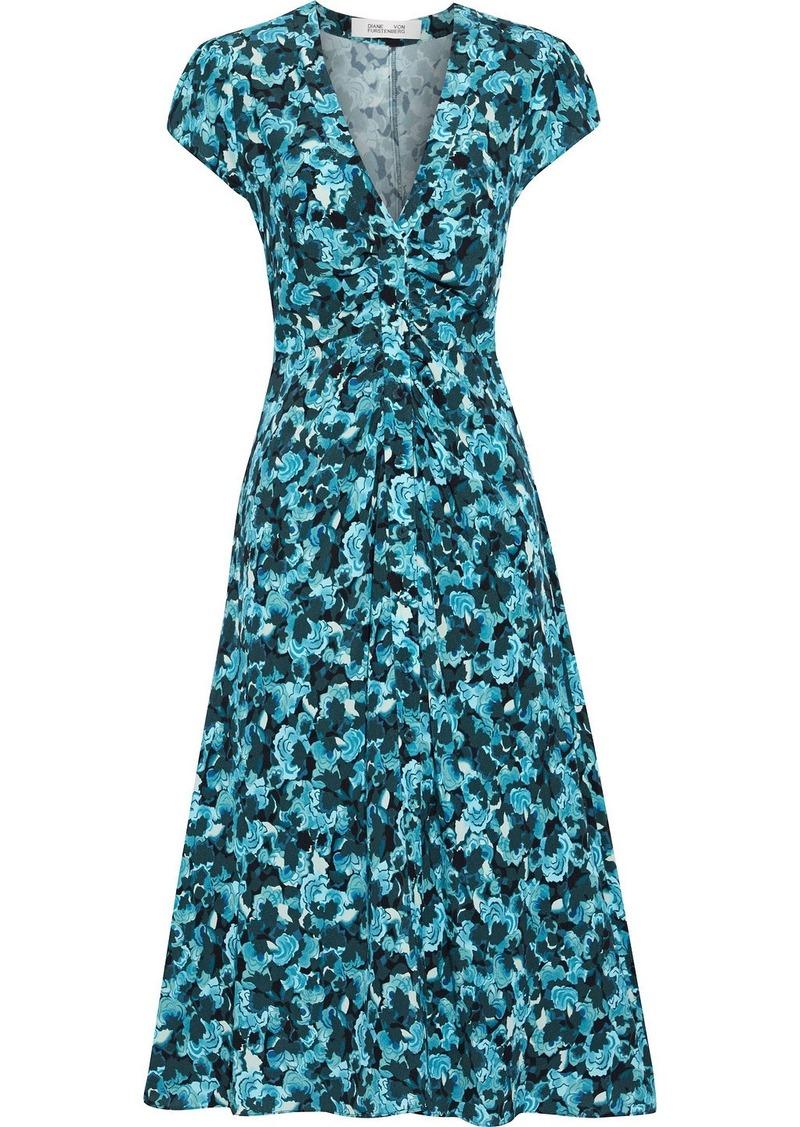 Diane Von Furstenberg Woman Cecil Ruched Floral-print Crepe Midi Dress Blue