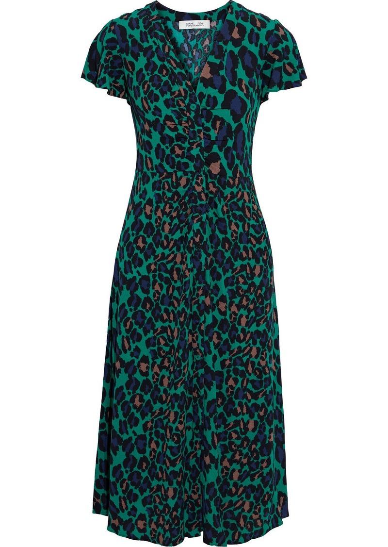 Diane Von Furstenberg Woman Cecilia Ruched Printed Crepe Midi Dress Emerald