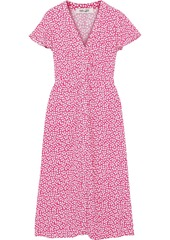 Diane Von Furstenberg Woman Cecilia Ruched Printed Crepe Midi Dress Bright Pink