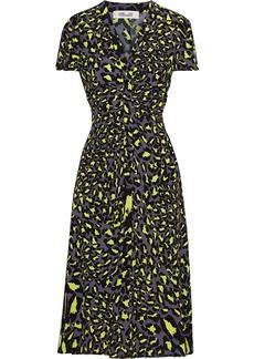 Diane Von Furstenberg Woman Cecilia Ruched Floral-print Crepe Midi Dress Chartreuse