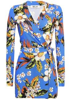 Diane Von Furstenberg Woman Celeste Floral-print Silk-jersey Wrap Playsuit Cobalt Blue