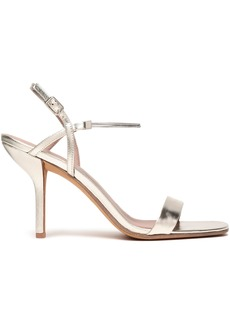 Diane Von Furstenberg Woman Frankie Chain-trimmed Metallic Leather Slingback Sandals Platinum