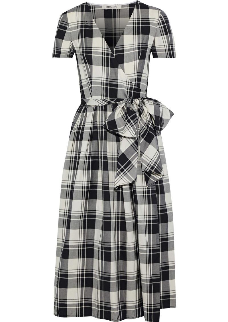 Diane Von Furstenberg Woman Checked Cotton Midi Wrap Dress Stone
