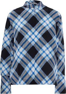 Diane Von Furstenberg Woman Checked Silk Shirt Blue