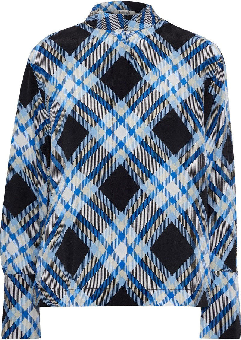 Diane Von Furstenberg Woman Checked Silk Shirt Blue