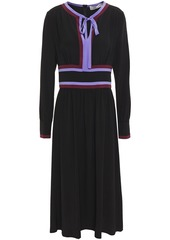 Diane Von Furstenberg Woman Cherry Color-block Silk Crepe De Chine Midi Dress Black