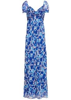 Diane Von Furstenberg Woman Chevelle Ruched Printed Chiffon Maxi Dress Bright Blue