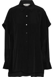 Diane Von Furstenberg Woman Chiffon-paneled Silk-satin Top Black