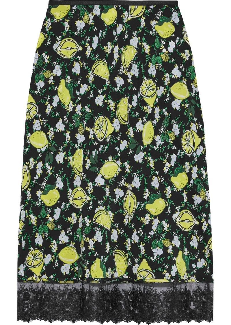 Diane Von Furstenberg Woman Chrissy Lace-trimmed Printed Silk Crepe De Chine Skirt Black