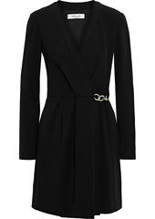 Diane Von Furstenberg Woman Christel Chain-embellished Crepe Mini Wrap Dress Black