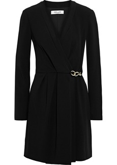 Diane Von Furstenberg Woman Christel Chain-embellished Crepe Mini Wrap Dress Black