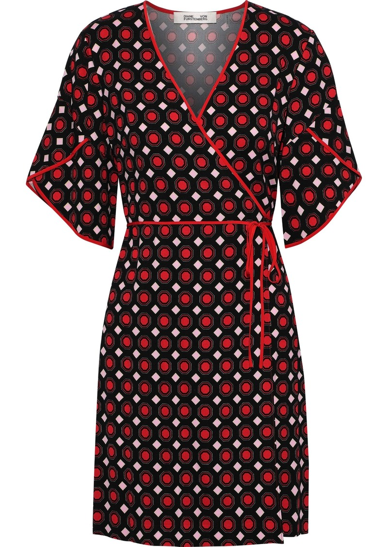Diane Von Furstenberg Woman Cinnamon Printed Crepe-jersey Mini Wrap Dress Brick