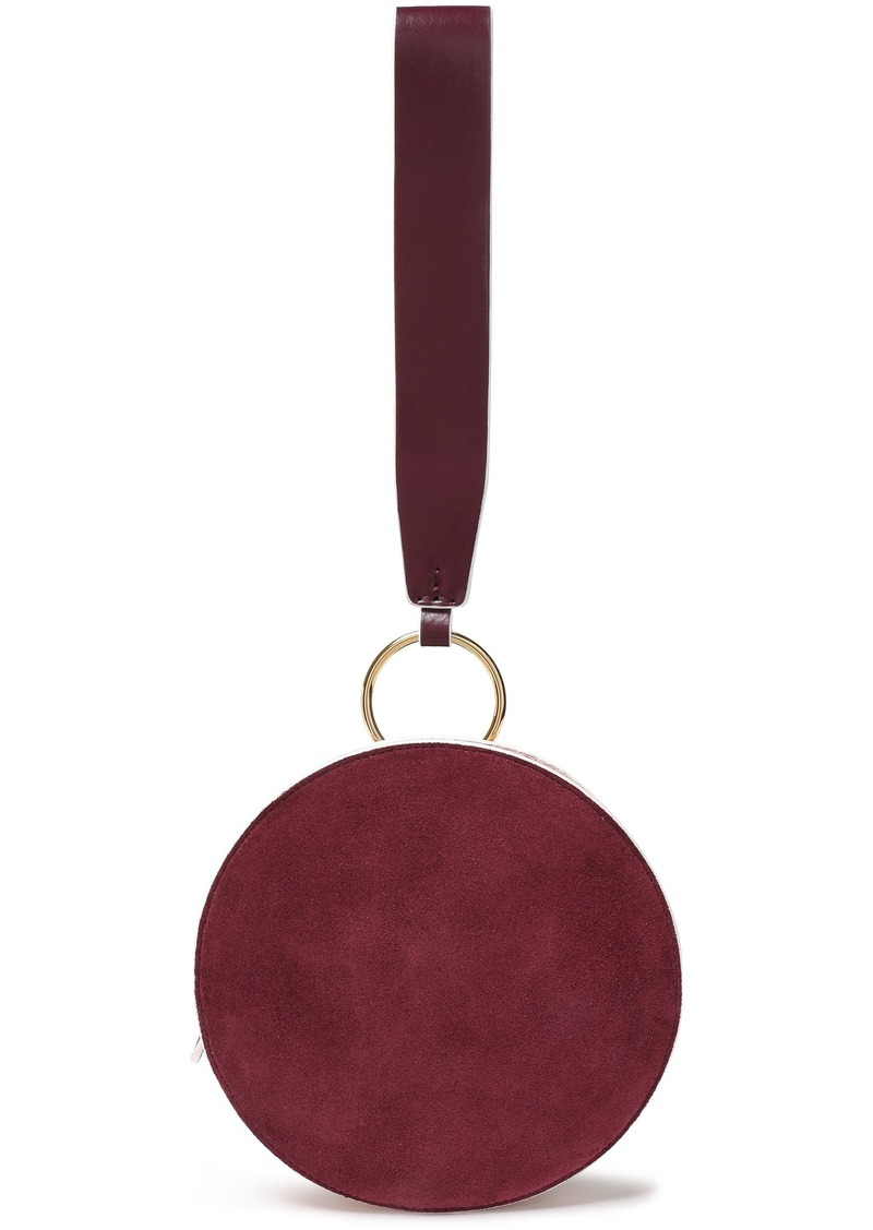 Diane Von Furstenberg Woman Circle Suede And Leather Clutch Burgundy