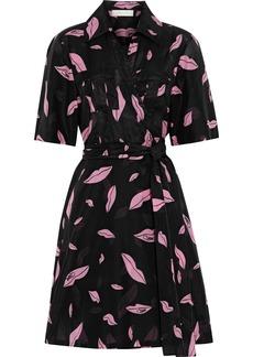 Diane Von Furstenberg Woman Clarem Printed Cotton And Silk-blend Voile Mini Wrap Dress Black