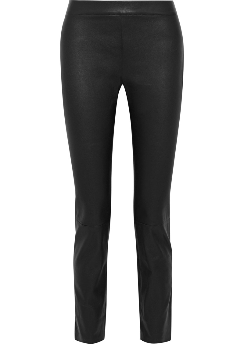 Diane Von Furstenberg Woman Claudia Stretch-leather Skinny Pants Black