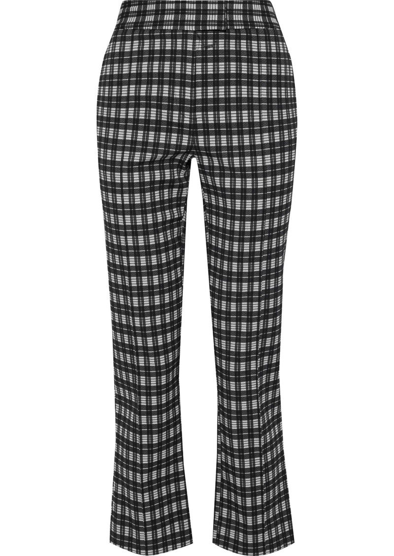 Diane Von Furstenberg Woman Clio Cropped Checked Woven Bootcut Pants Black
