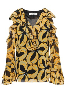 Diane Von Furstenberg Woman Cold-shoulder Ruffled Printed Georgette Blouse Black