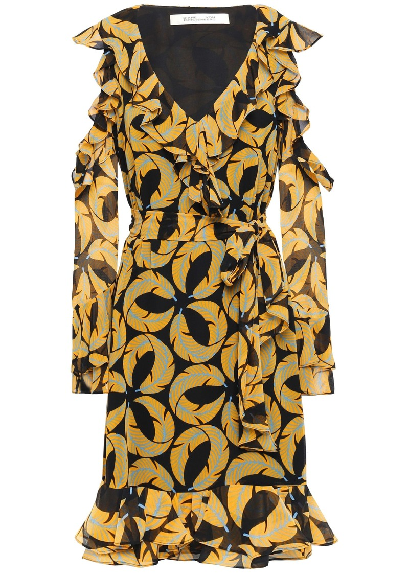 Diane Von Furstenberg Woman Cold-shoulder Ruffled Printed Georgette Dress Black