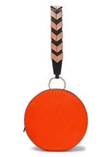 Diane Von Furstenberg Woman Circle Calf Hair And Leather Clutch Bright Orange
