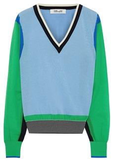 Diane Von Furstenberg Woman Color-block Cotton-blend Sweater Light Blue