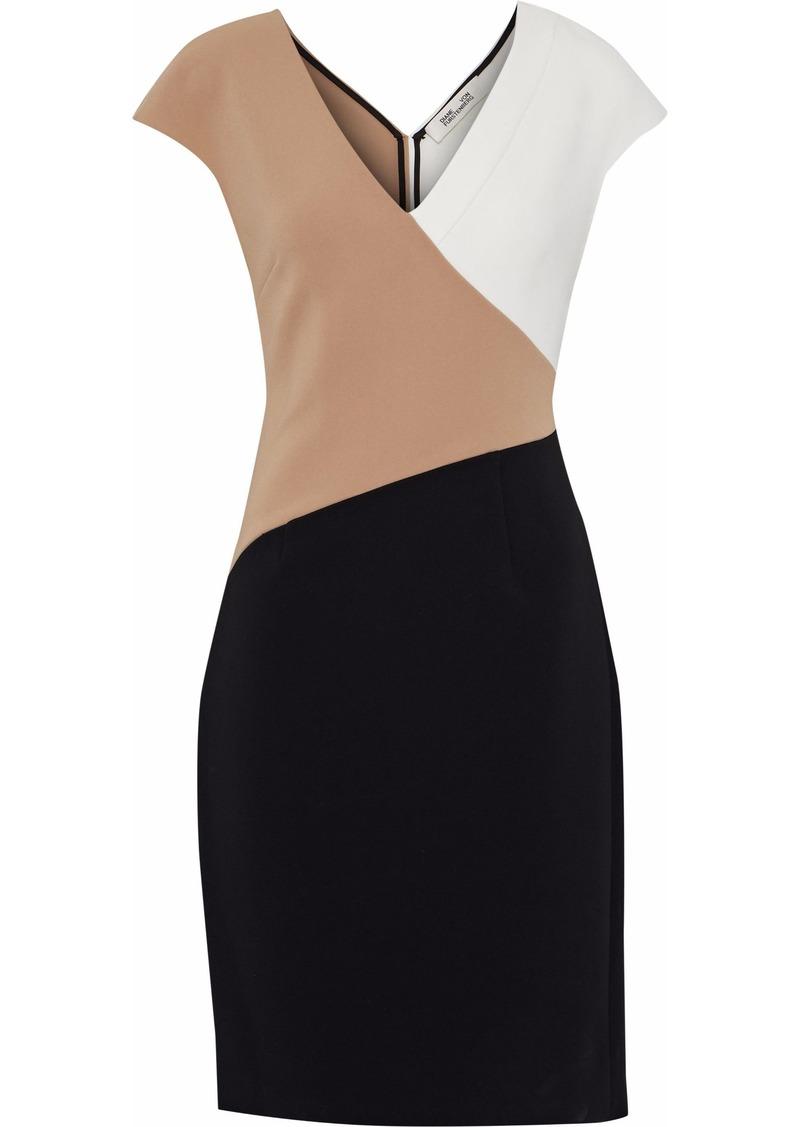 Diane Von Furstenberg Woman Color-block Crepe Dress Black