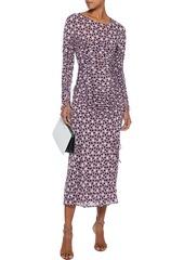 Diane Von Furstenberg Woman Corinne Ruched Printed Stretch-mesh Midi Dress Lavender