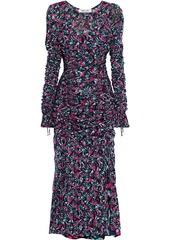 Diane Von Furstenberg Woman Corinne Ruched Floral-print Stretch-mesh Midi Dress Midnight Blue