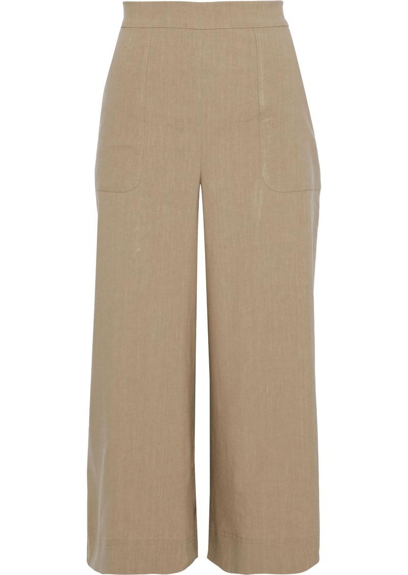 Diane Von Furstenberg Woman Cornelia Cropped Linen-blend Wide-leg Pants Beige