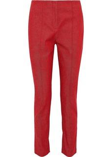 Diane Von Furstenberg Woman Cotton-blend Twill Slim-leg Pants Crimson
