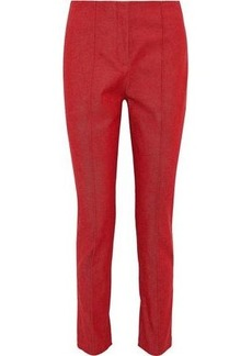 Diane Von Furstenberg Woman Cotton-blend Twill Slim-leg Pants Crimson