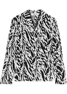 Diane Von Furstenberg Woman Courtney Zebra-print Silk Crepe De Chine Jacket White