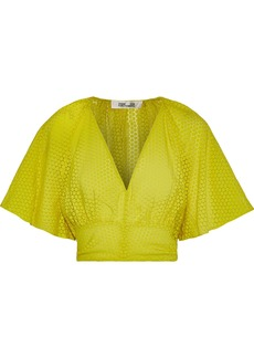 Diane Von Furstenberg Woman Cropped Flocked Chiffon Top Chartreuse