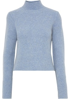 Diane Von Furstenberg Woman Cropped Mélange Knitted Turtleneck Sweater Light Blue