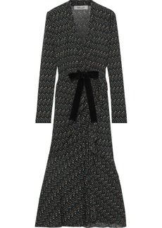 Diane Von Furstenberg Woman Crystal Tie-front Polka-dot Stretch-mesh Midi Dress Black