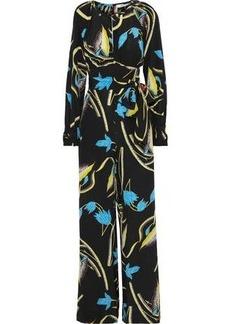 Diane Von Furstenberg Woman Cutout Floral-print Silk Jumpsuit Black