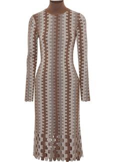 Diane Von Furstenberg Woman Cutout Intarsia Merino Wool Turtleneck Dress Brown