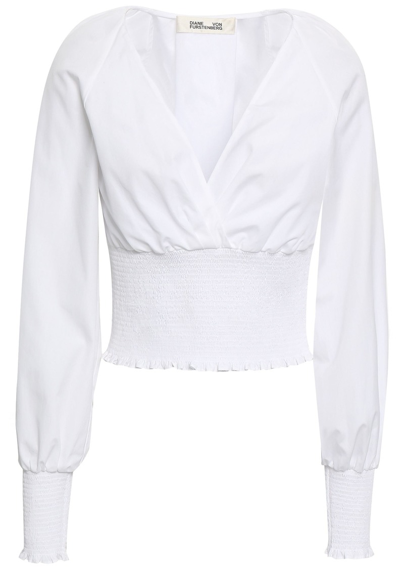 Diane Von Furstenberg Woman Cutout Shirred Cotton-poplin Blouse White