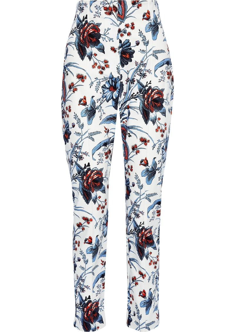 Diane Von Furstenberg Woman Dakota Printed Stretch-cotton Twill Slim-leg Pants White