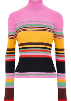 Diane Von Furstenberg Woman Dara Metallic Striped Ribbed-knit Turtleneck Sweater Multicolor