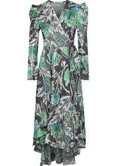 Diane Von Furstenberg Woman Darcey Printed Metallic Jacquard Wrap Dress Black