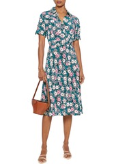 Diane Von Furstenberg Woman Deborah Wrap-effect Floral-print Silk Crepe De Chine Midi Dress Emerald