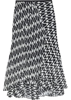 Diane Von Furstenberg Woman Debra Asymmetric Printed Silk-georgette Midi Skirt Black