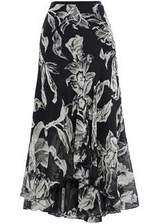 Diane Von Furstenberg Woman Debra Printed Silk-chiffon Midi Skirt Black