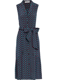 Diane Von Furstenberg Woman Delilah Belted Printed Silk Crepe De Chine Dress Jade