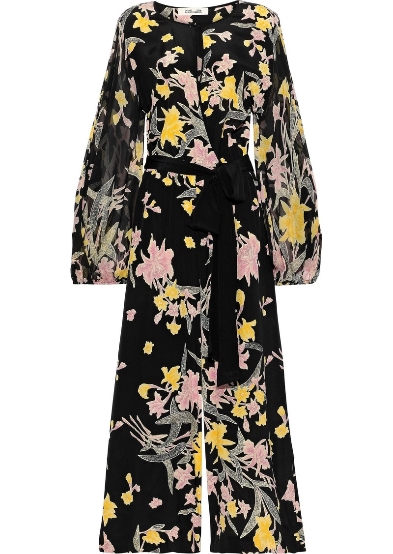 Diane Von Furstenberg Woman Delphi Wrap-effect Floral-print Chiffon And Silk Crepe De Chine Jumpsuit Black