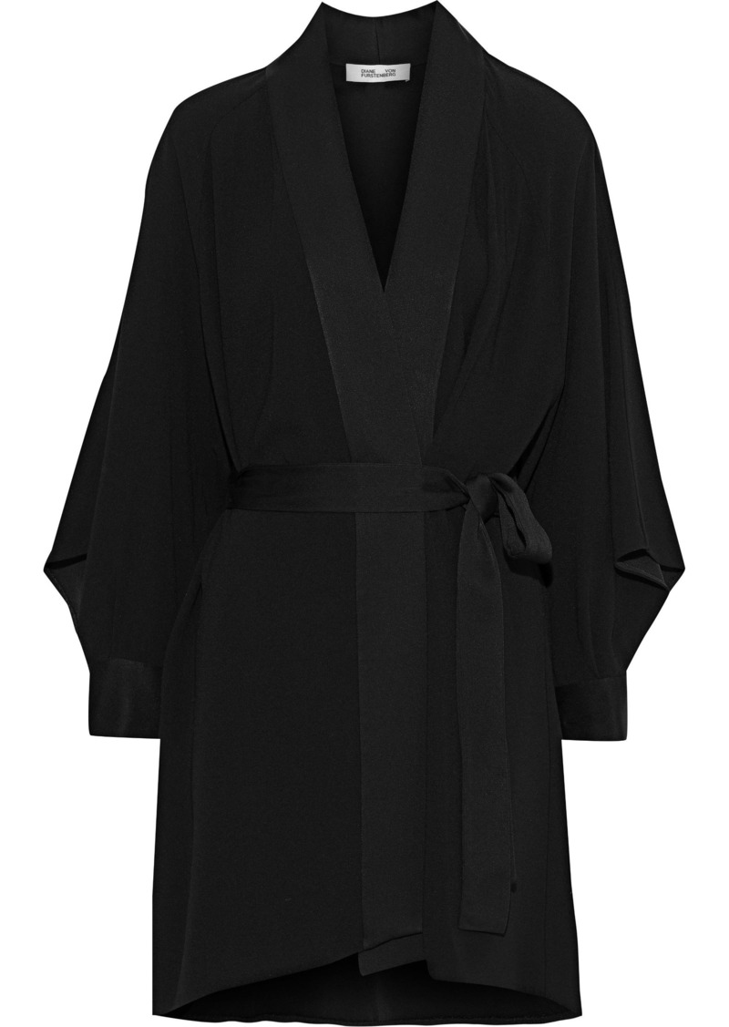 Diane Von Furstenberg Woman Deon Belted Crepe Mini Dress Black