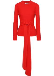 Diane Von Furstenberg Woman Devin Tie-front Merino Wool Sweater Tomato Red