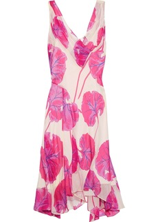 Diane Von Furstenberg Woman Dita Asymmetric Printed Crinkled-chiffon Dress Bright Pink