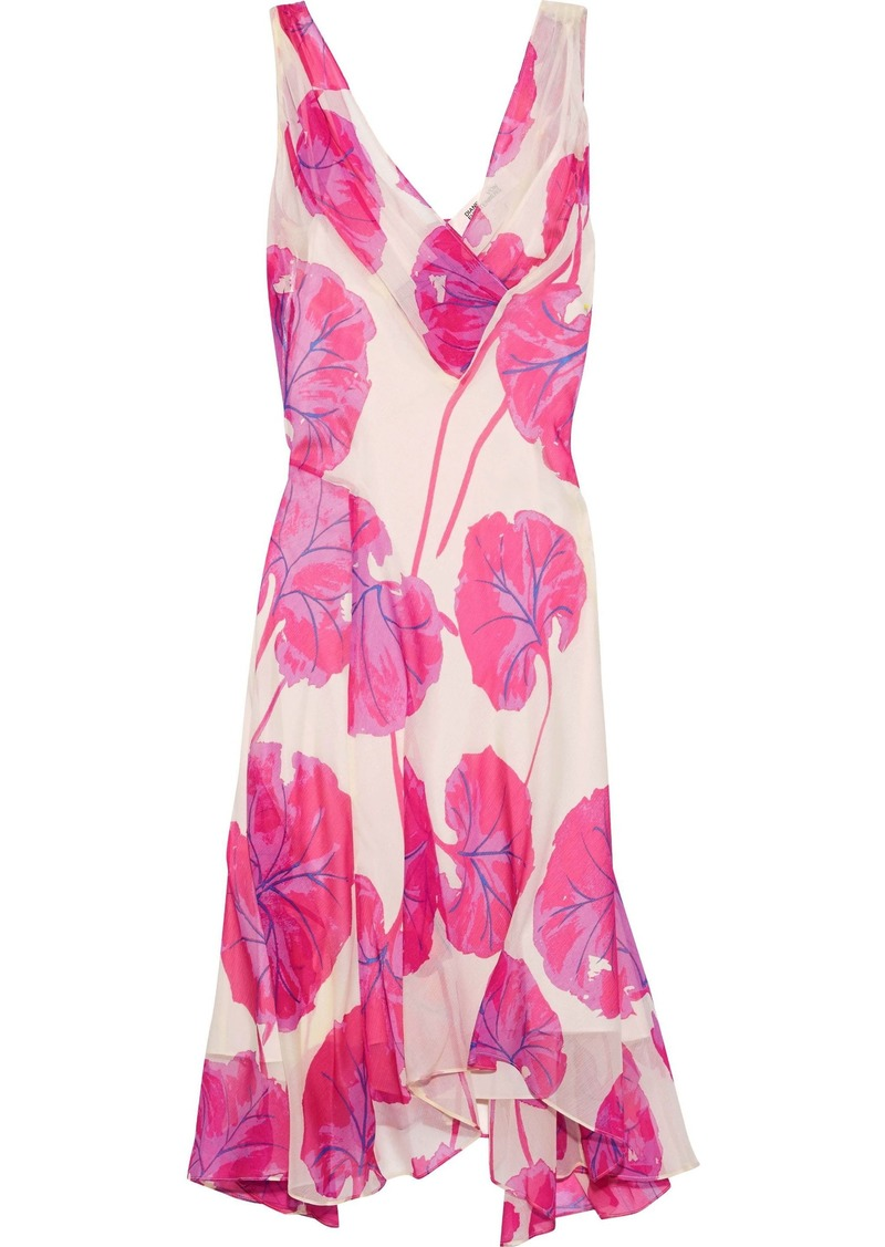 Diane Von Furstenberg Woman Dita Asymmetric Printed Crinkled-chiffon Dress Bright Pink